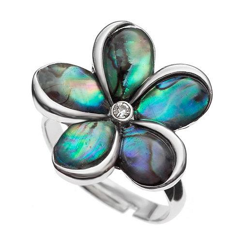 Paua shell flower ring