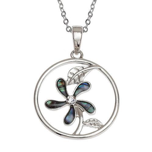 Circled five petal flower pendant & chain