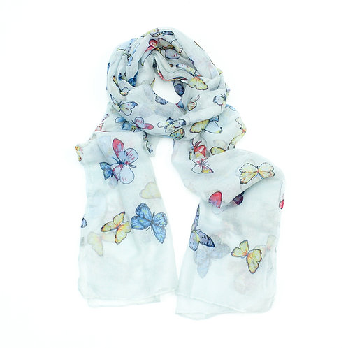 Butterfly design scarf ~ blue