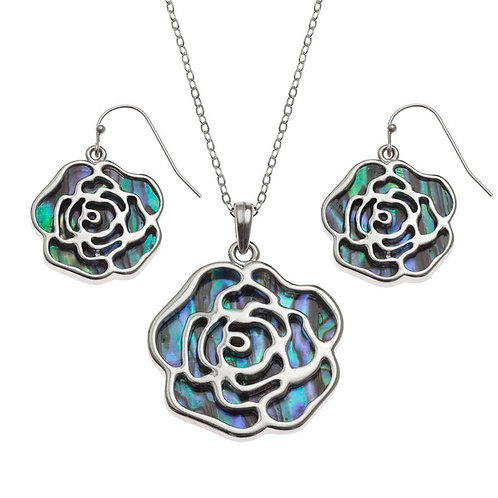 Rose pendant & earring set