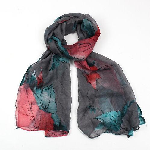 Large leaf design scarf ~ grey