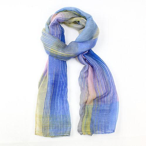Striped print scarf ~ blue