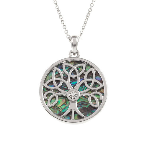 Celtic tree of life pendant with glass stone & chain