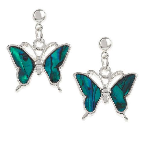Butterfly drop stud earrings -blue