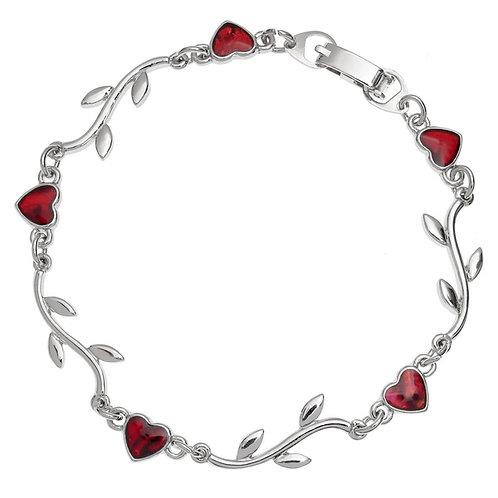 Heart & branch bracelet ~ red