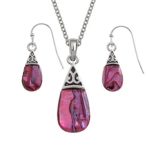 Tide Jewellery pink pear drop pendant & earring set