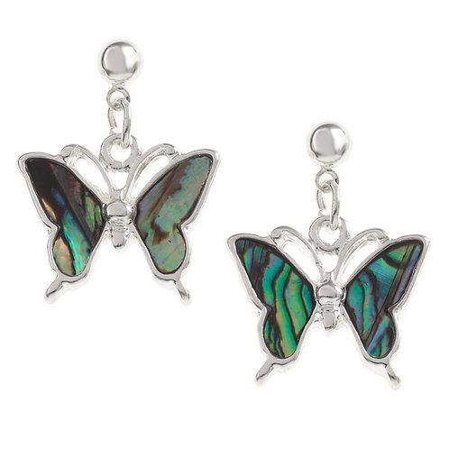 Butterfly drop stud earrings