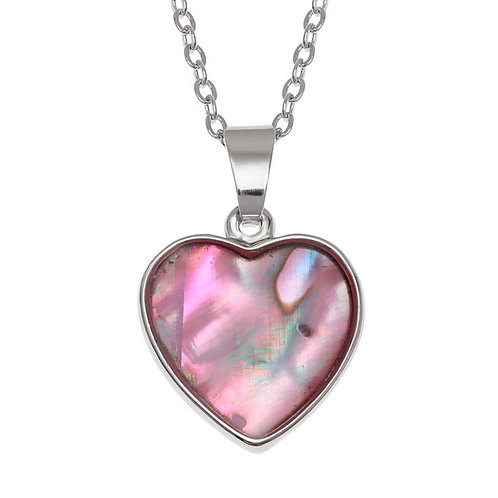 Heart pendant & chain - pink