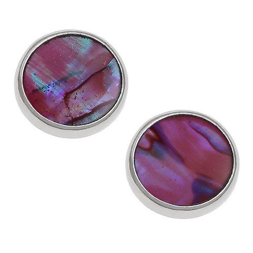 Round stud earrings ~ pink