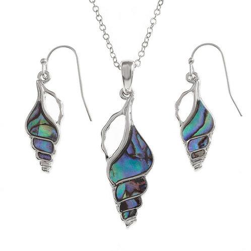 Seashell pendant & earring set