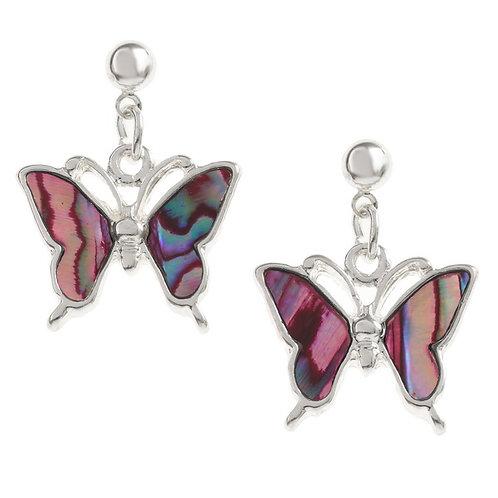 Butterfly drop stud earrings - pink