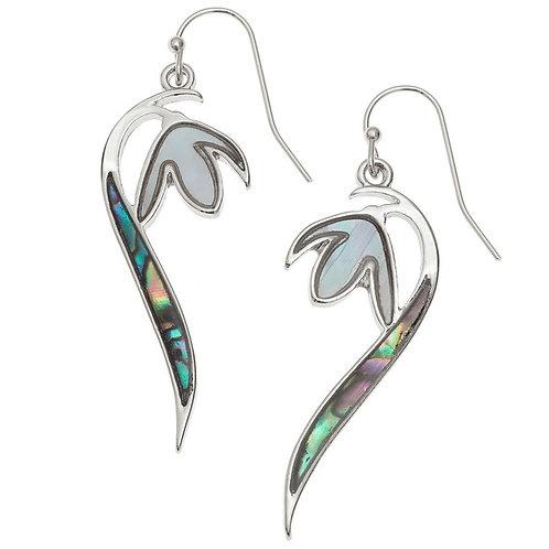 Snowdrop flower heart hook earrings