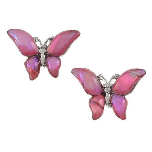 Butterfly stud earrings ~pink