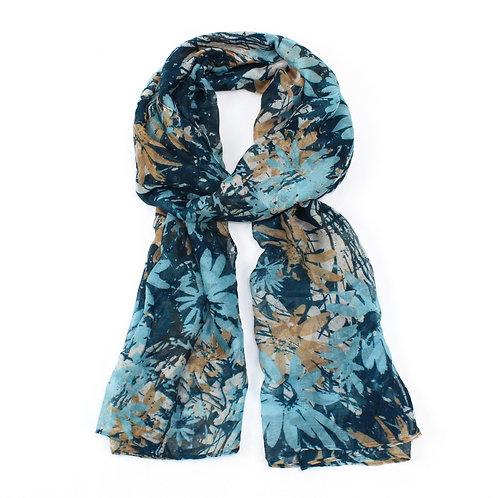 Floral print scarf ~ Blue
