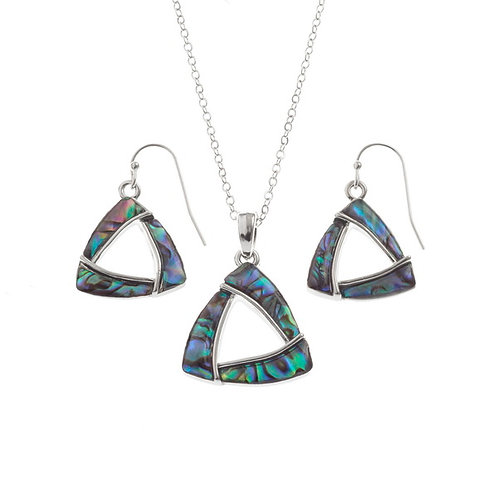 Triangular pendant & earring set