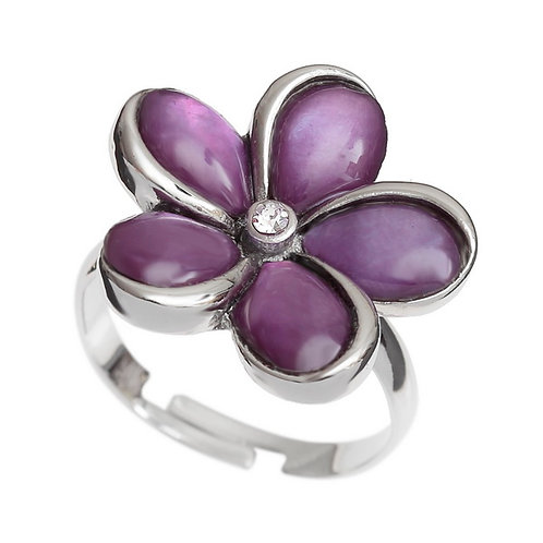 Purple mother of pearl flower ring