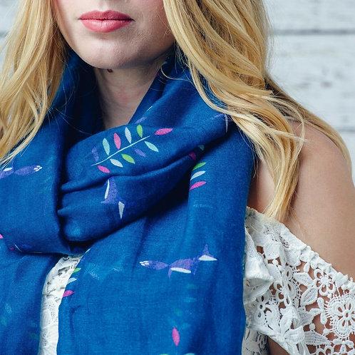 Crevan blue fox print scarf