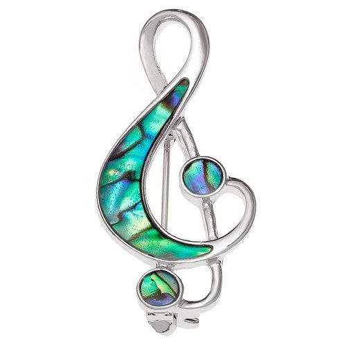 Treble clef music note brooch