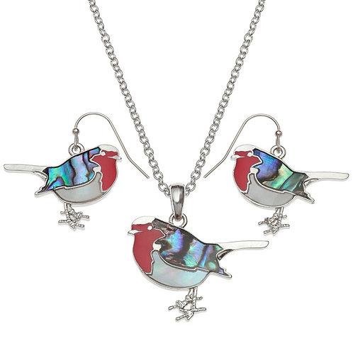 Robin pendant & earring set
