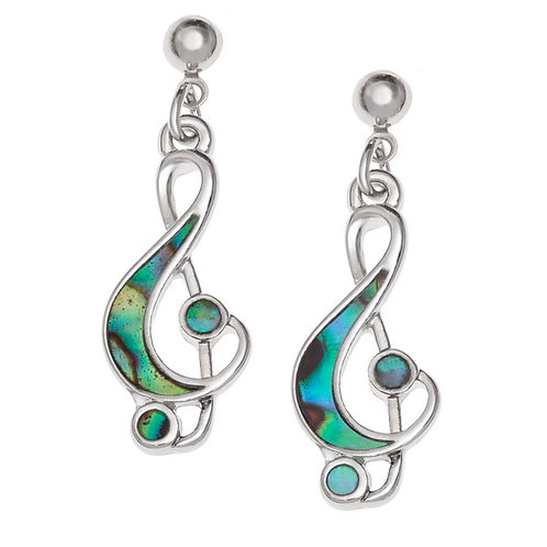 Treble clef music note earrings