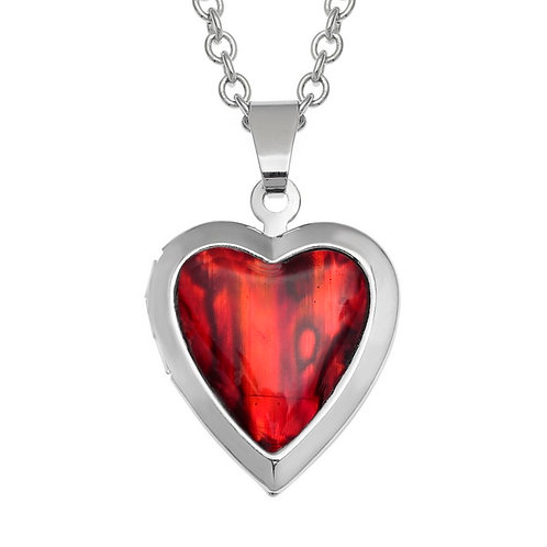 Heart locket pendant & chain - red