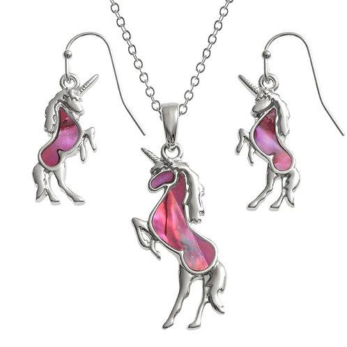 Tide Jewellery Pink Unicorn pendant & earring set