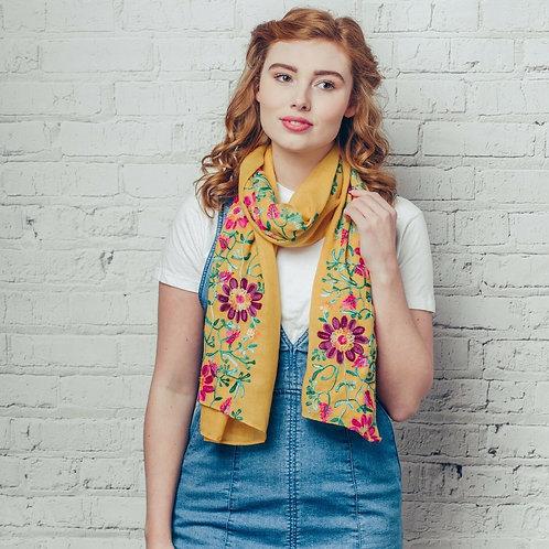 Ella yellow floral print scarf