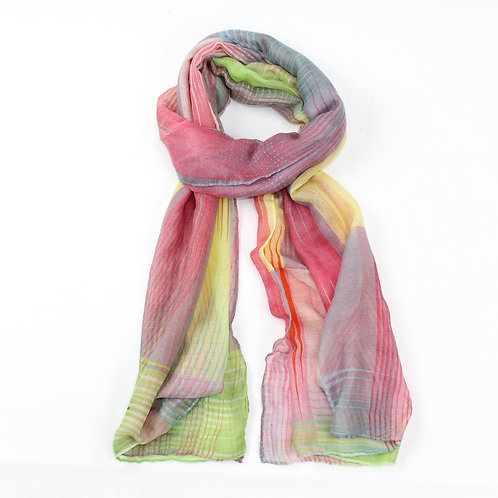 Striped print scarf ~ red
