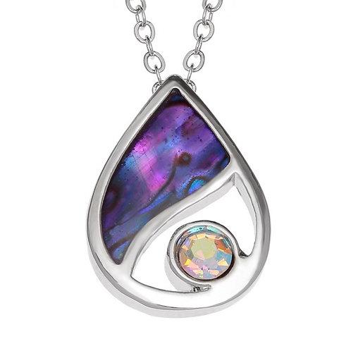 Teardrop pendant & chain ~purple