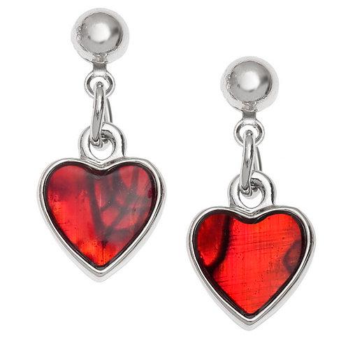 Heart drop stud earrings