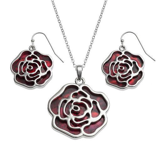 Rose pendant & earring set - red