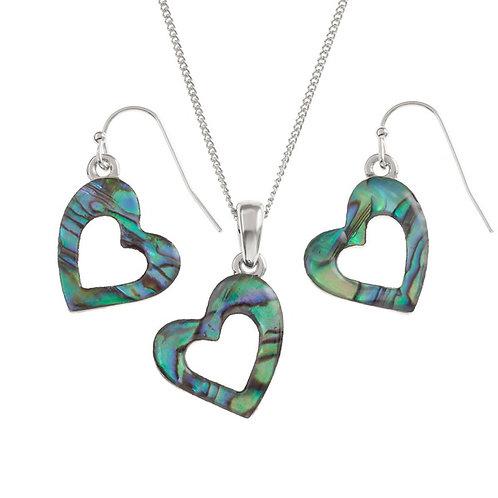 Open Heart pendant & earring set