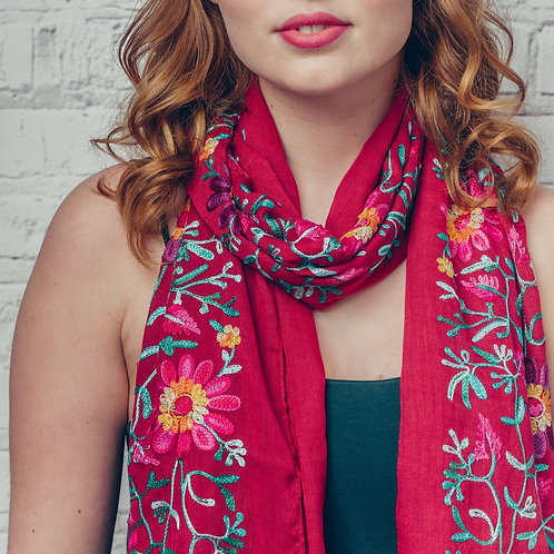Ella floral embroidered scarf - red