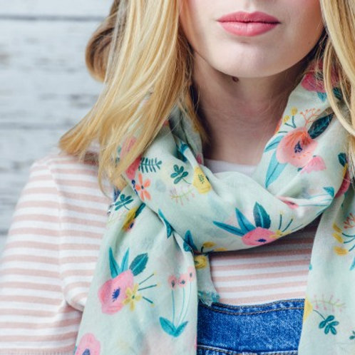 Christine turquoise floral print scarf