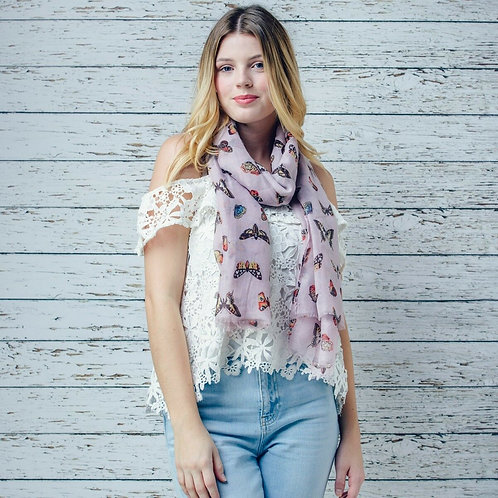 Cynthia pink butterfly print scarf