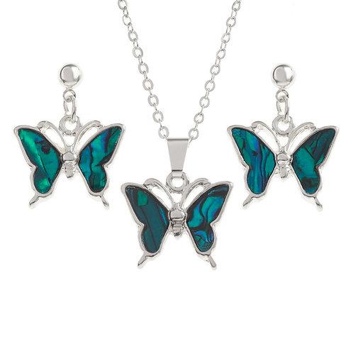 Tide Jewellery Blue Butterfly pendant & earring set