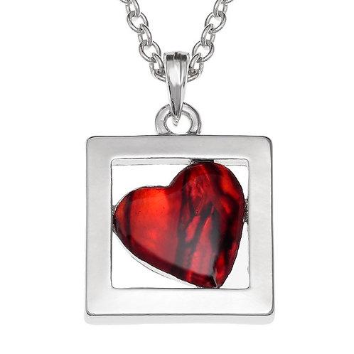 Boxed heart pendant& chain