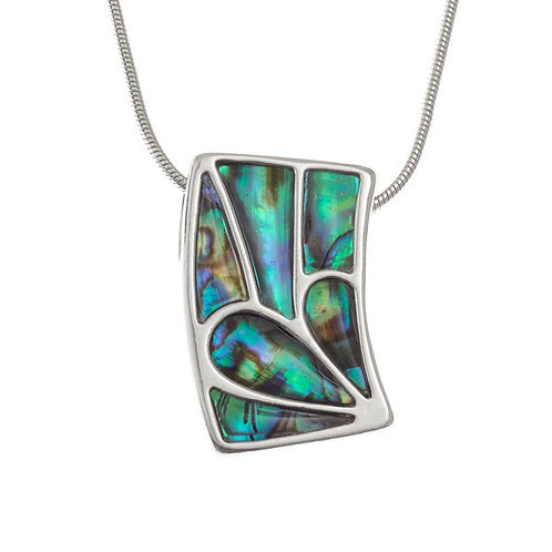 Segmented curved rectangle pendant & chain
