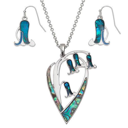 Bluebell Flower Pendant & Earring set