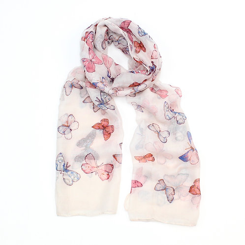 Butterfly design scarf ~ pink