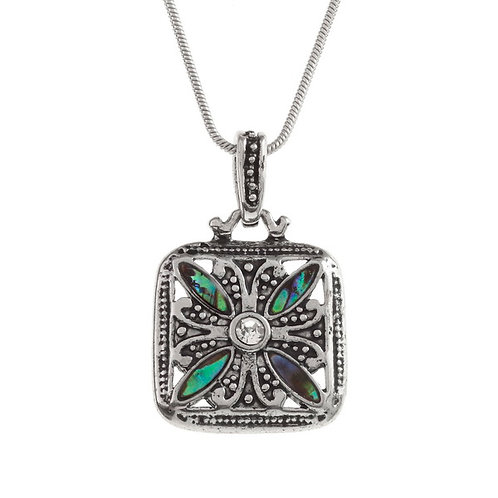 Ornate square pendant & chain