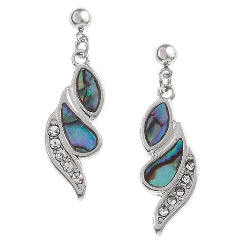 Diamante strip swirl drop stud earrings