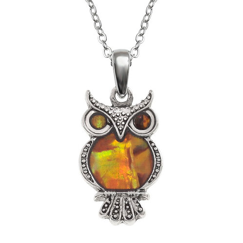Owl pendant & chain - orange