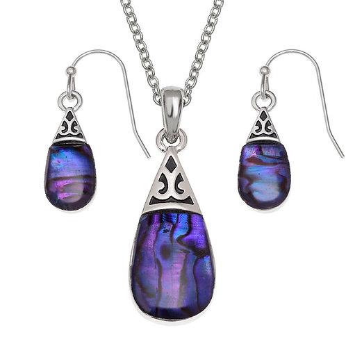Pear drop pendant & earring set - purple