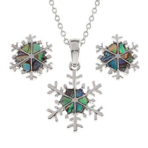 Snowflake pendant & earring set