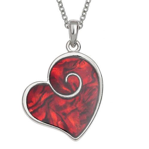 Heart swirl pendant & chain - red