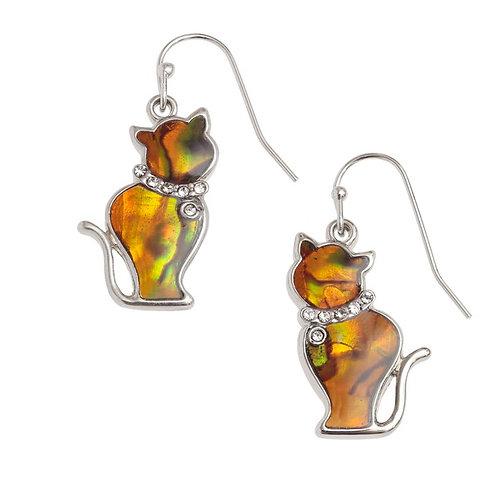 Cat hook earrings - orange
