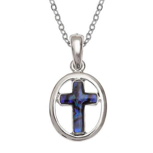 Circled cross pendant & chain - purple
