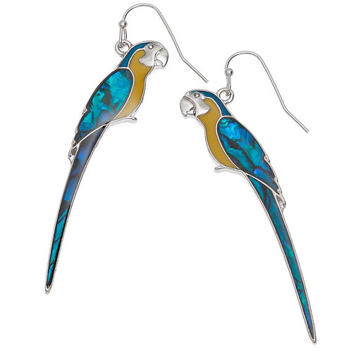 Perched Macaw hook earrings