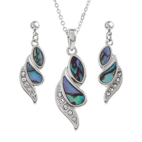 Diamante strip swirl pendant & earring set
